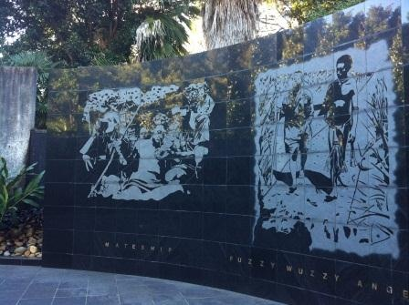 The KOKODA TRACK MEMORIAL WALKWAY at Rhodes is a memorial to all veterans who served in WWII and especially to those who served in the Papua-New Guinea campaign from 1942 to 1943. The walk features a memorial centrepiece, interpretive stations & a rose garden.