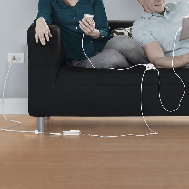 The 15′ Comfortable Reach #Charger from Hammacher can charge three devices simultaneously while it's #plugged into a wall #outlet way over at the other end of the room. - http://thegadgetflow.com/portfolio/15-comfortable-reach-charger/