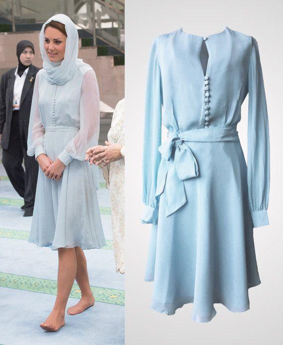 #KateMiddleton inspired light baby ice blue chic chiffon shirt dress by #TatianasDelights $199.00 #Etsy