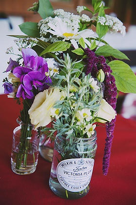 Wildflowers and garden flowers in jam jars from our wedding (mini Wilkin & sons jam was also favour), photo by Stu Cooper