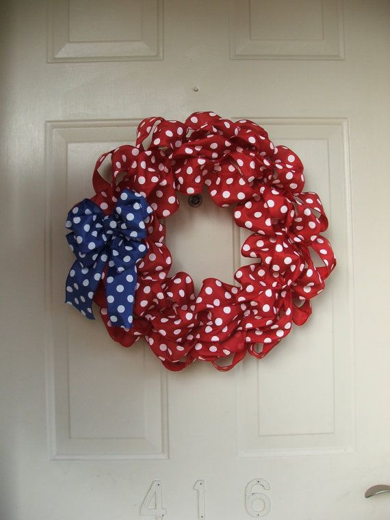 Patriotic Wreath, USA,  4th of July,  Red white and blue wreath, Red and Royal Blue Polka Dot Ribbon Wreath on Etsy, $30.00