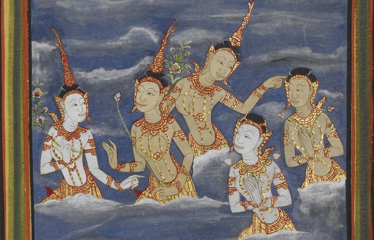 Illustration from a 19th century Thai manuscript depicting deities in the Buddhist heavens, British Library