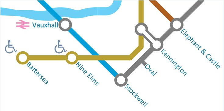 This sample was created in ConceptDraw PRO using the Spatial Infographics solution. The sample clearly demonstrates the Solution's capabilities and the results that you can expect. An experienced user spent 15 minutes creating this sample.  This sample illustrates a part of metro map. The map includes stations names and special markers for stations equipped for people with special requirements.