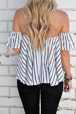 Blusa moda verão feminina com ombro de fora Listra casual solta camisa tops Camiseta Manga Curta