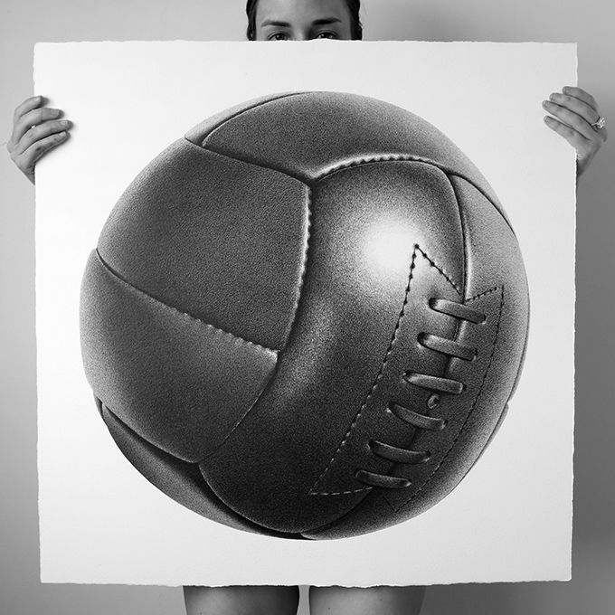 New Artworks by CJ Hendry - Pen on Paper - Hand drawn old school soccer ball