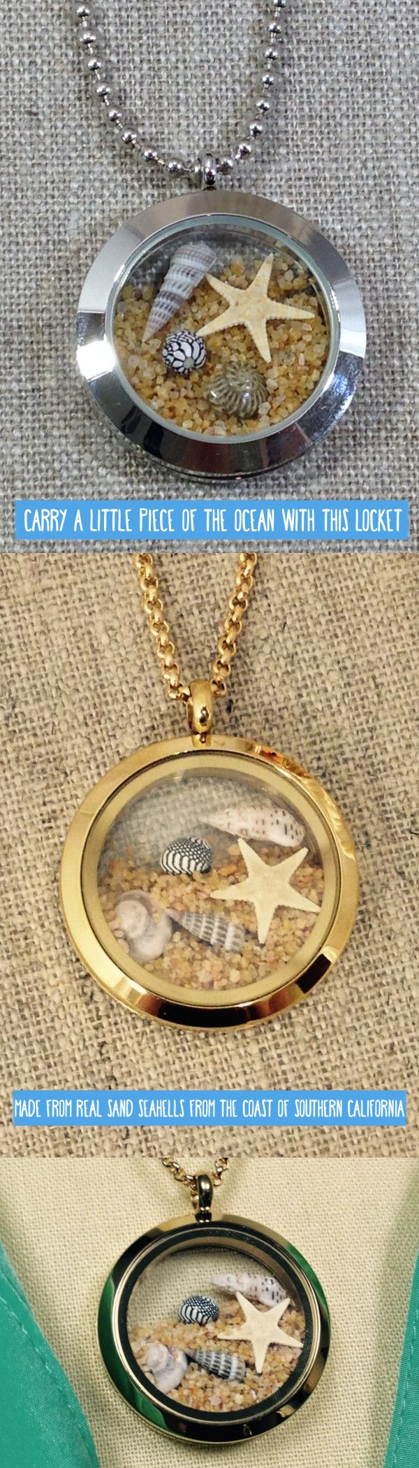 Carry a little piece of the ocean with you everyday with our beautiful floating locket. Each locket is filled with real sand and seashells from the coast of Southern California.