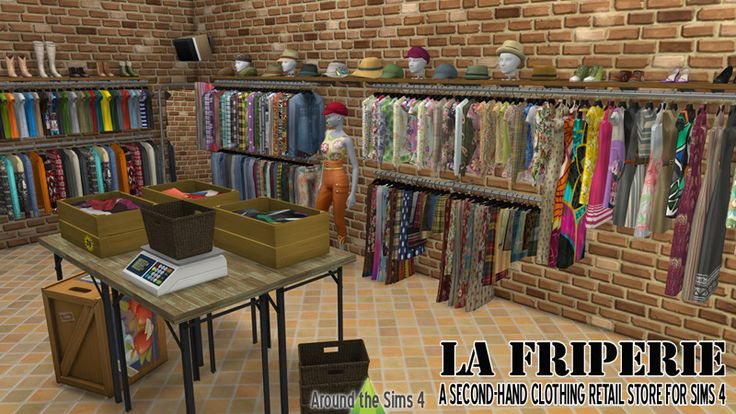 Around the Sims 4   Custom Content Download   La Friperie, a second-hand clothing retail store
