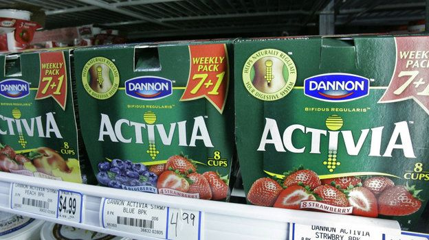 Article about yogurt affect on gut heath ...picture is Packages of Activa yogurt, which contain probiotics, on a grocery shelf in Chicago.