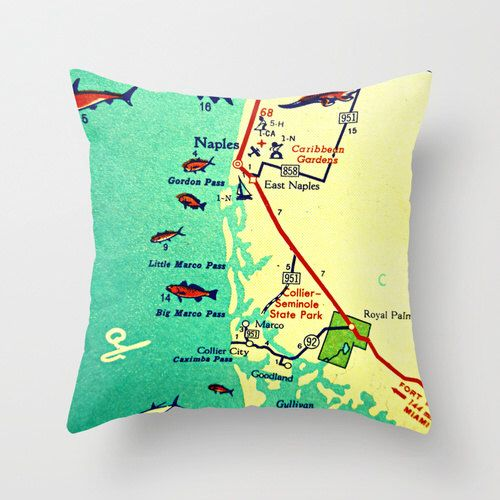 Throw Pillow, Florida Map Pillow, Marco Island,  Decorative Pillow, Naples Beach House Pillow, Decorative Throw Pillow Cover, Hostess Gift by VintageBeachMaps on Etsy https://www.etsy.com/listing/167050343/throw-pillow-florida-map-pillow-marco