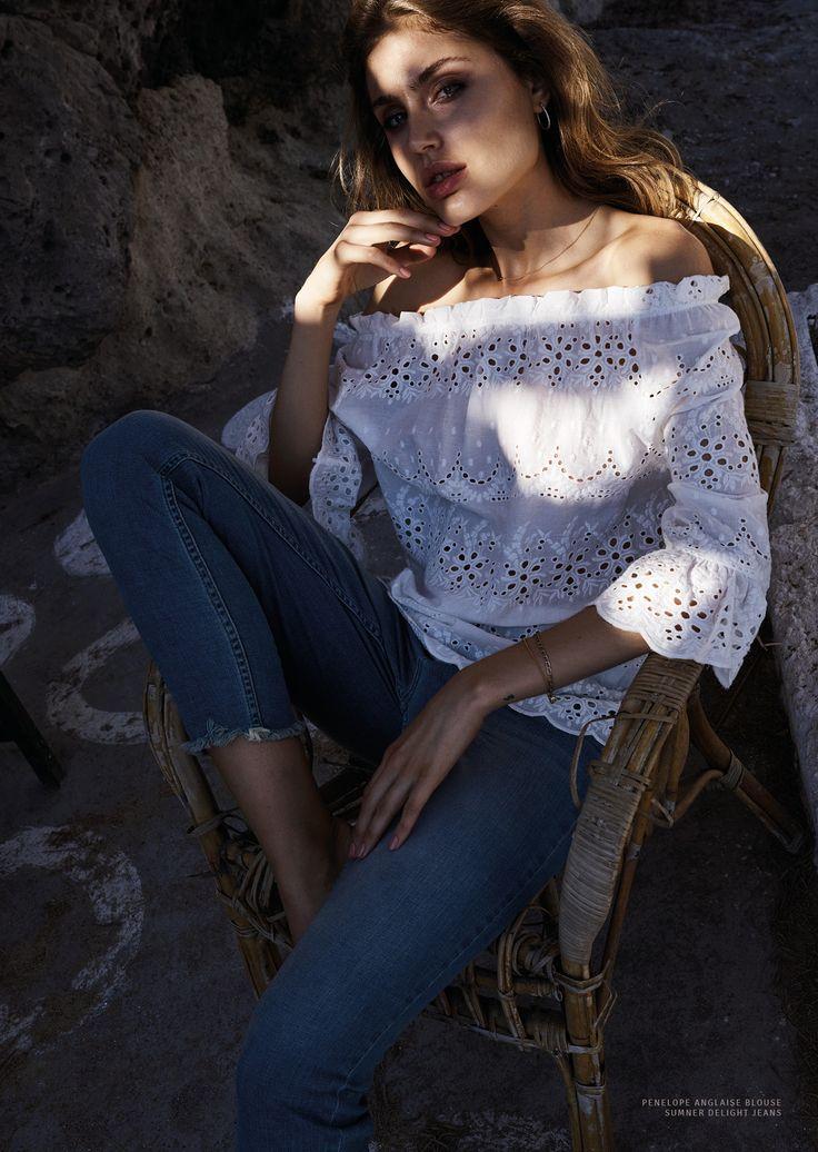 Mos Mosh White Lace Blouse Jeans