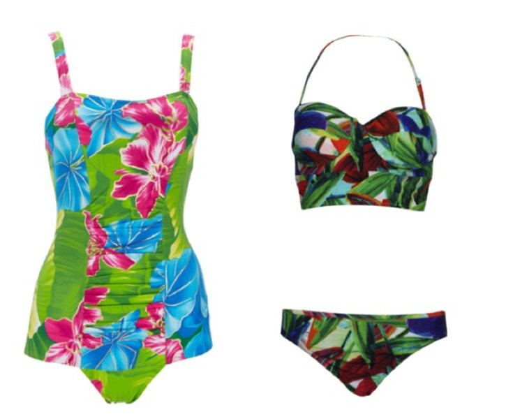 Channel Katy Perry in the vintage-inspired suit on the left, or blend into the wild in the bikini on the right.