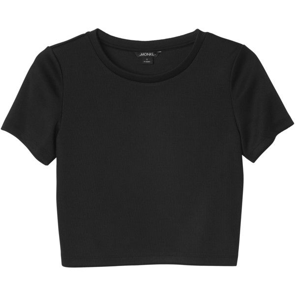 Monki Claudia top ($11) ❤ liked on Polyvore featuring tops, t-shirts, shirts, crop tops, black magic, thick t shirts, ribbed top, ribbed crop tee, cropped tops and crop shirt