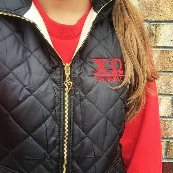Our new Sorority Puffer Vest is definitely the hot item of the season! #sorority #puffer #vest #fall #winter #musthave #need #love #sororitystyle #biglittle #sassysorority #chiomega