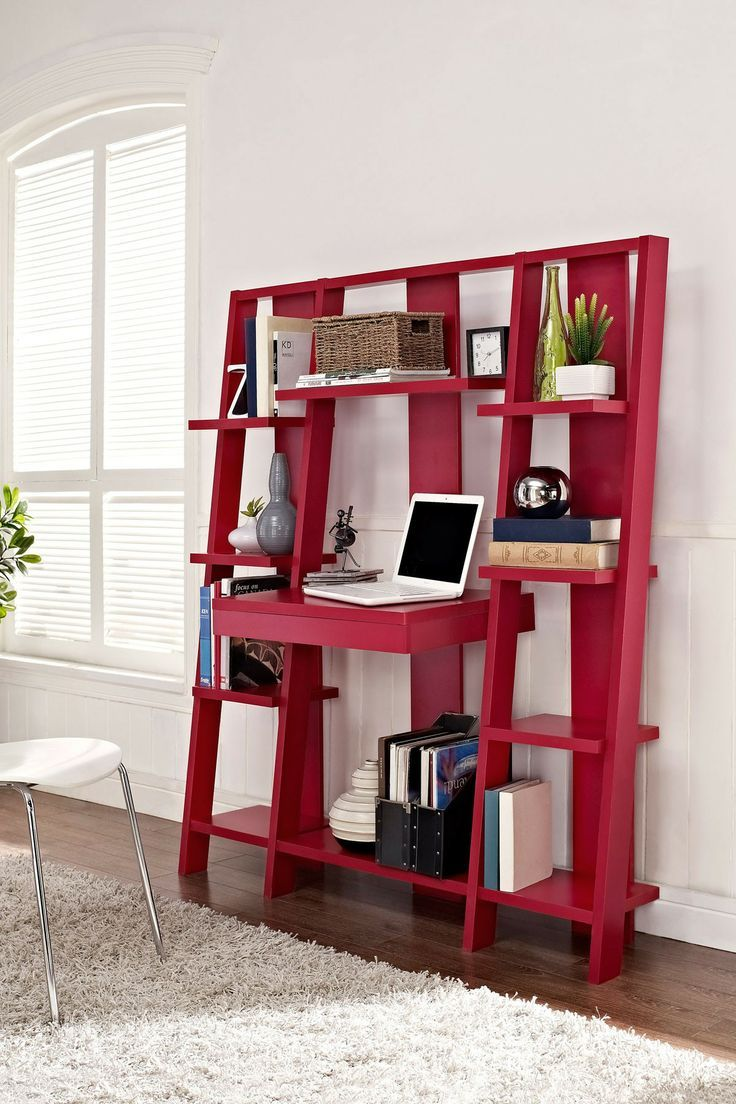 Red Ladder Bookcase with Desk: a clever design that combines a desk, pull-out drawer and storage shelves in one space-saving design.  20 Creative Ladder Ideas for Home Decoration, http://hative.com/creative-ladder-ideas-for-home-decoration/,