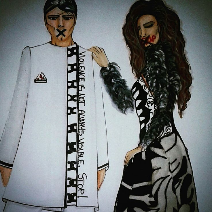 Stop violence. Fashion drawing.  Nigro