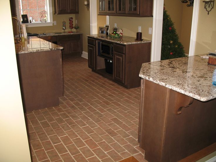 Chicago Brick Flooring With Granite Counter Tops | ... Brick Tile Kitchen  Floor,