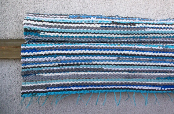 Hand woven Rag Rug  Turquoise Cyan Blue Grey White 243'  by dodres, $53.00