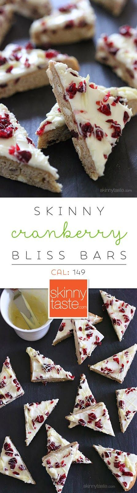 Skinny Cranberry Bliss Bars – SO GOOD, a copycat of Starbucks bars with a fraction of the calories! from @skinnytaste