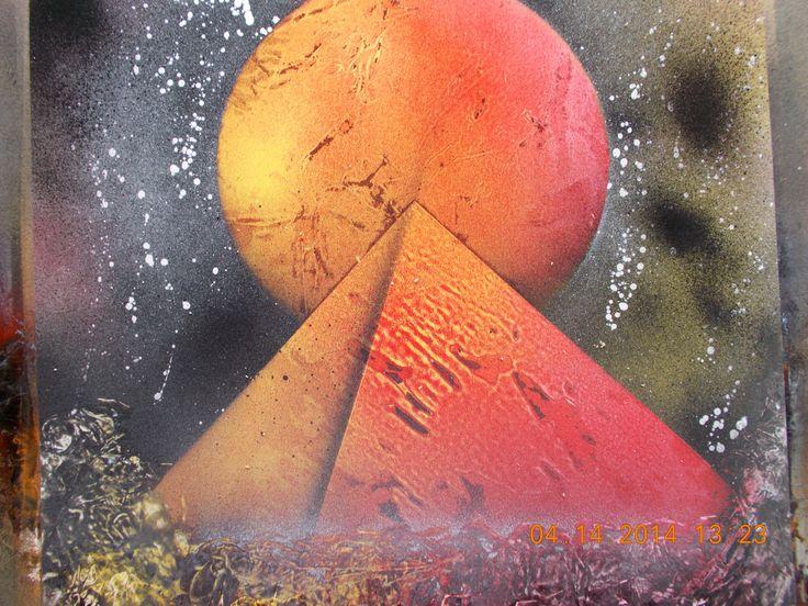 Spray paint space art w/pyramid.
