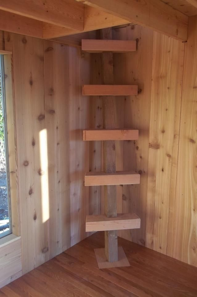 corner staircase in small cabin. - To connect with us, and our community of people from Australia and around the world, learning how to live large in small places, visit us at www.Facebook.com/TinyHousesAustralia