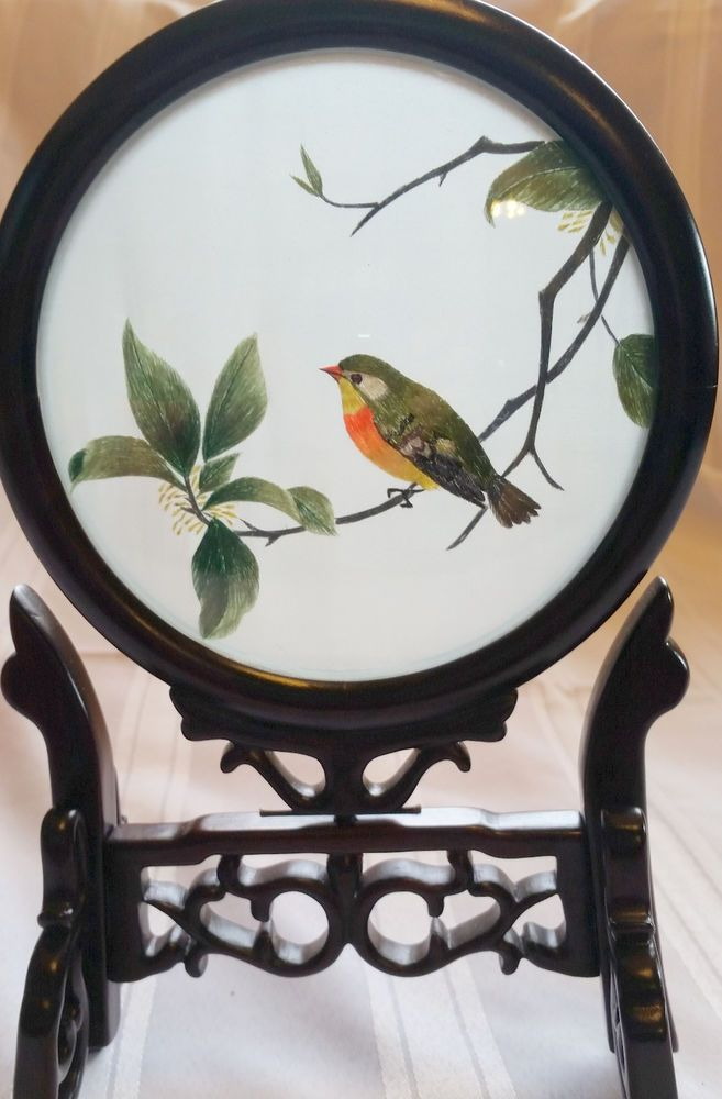 "9.5""x6"" Bird Tree Wooden Screen 2-Sided Chinese Su Embroidery Art Spinning Frame"