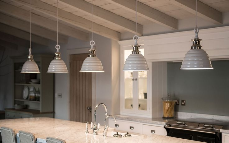 Neptune Kitchens. Really like these lights would be nice over the table.
