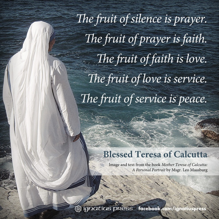 Mother Teresa used to distribute small cards with these words printed on them.: Prayer, Fruit, Mothers, Inspiration, Blessed Mother, Mother Teresa Quotes, Catholic Faith, Saint