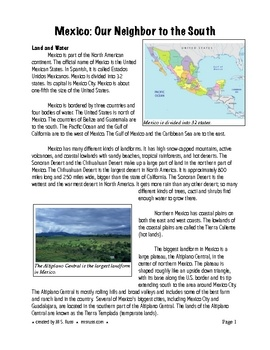 This 10-page handout of information about Mexico can be used as a