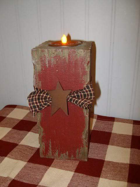 primitive wood block | ... Blocks | Primitive Red Burgundy Battery Candle Light Wood Block | eBay