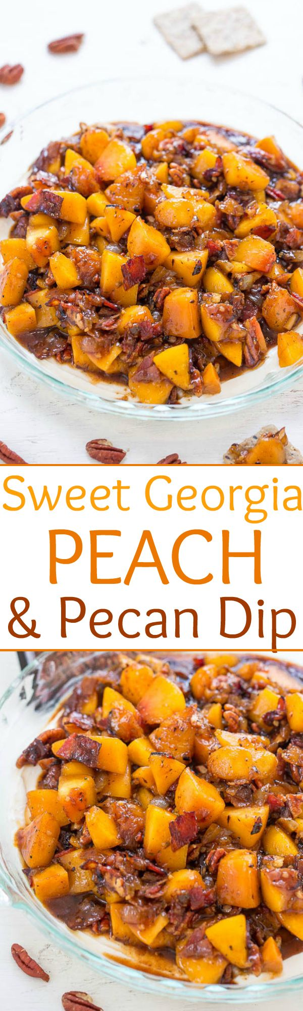 Sweet Georgia Peach and Pecan Dip - Peaches, onions, bacon, and pecans mixed with a brown sugar bourbon marinade and added to cream cheese!! Sweet, savory, tangy! Great for parties or game day events!!