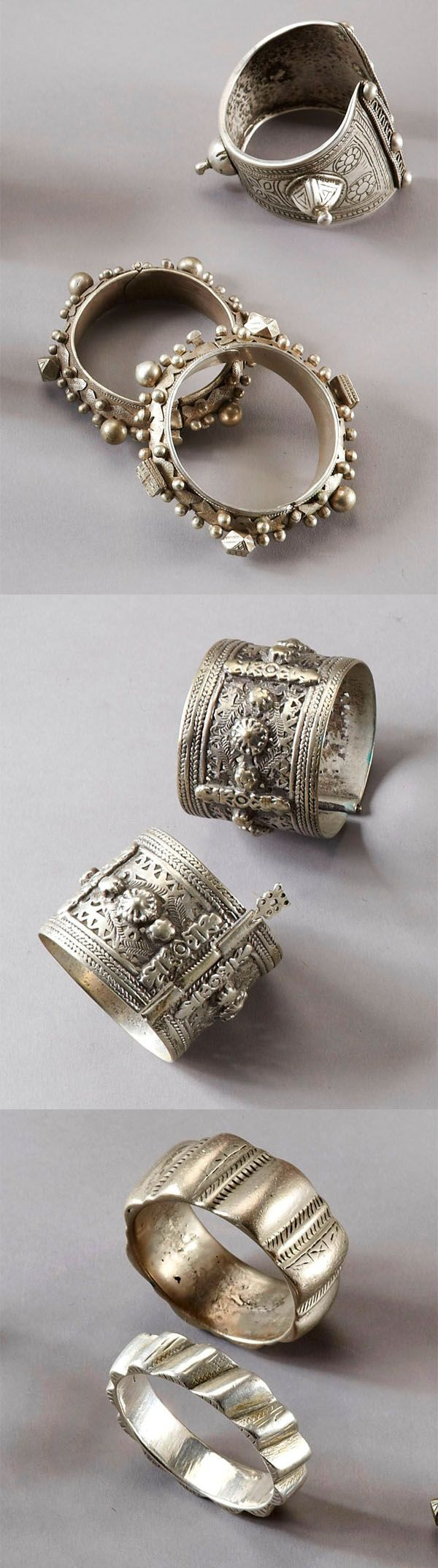 Collection of seven silver bracelets from North Africa | Est. 648. - Get the most out of buying your jewelry! Find out how at http://jewelrytipsnow.com/how-to-make-the-most-out-of-buying-your-jewelry/