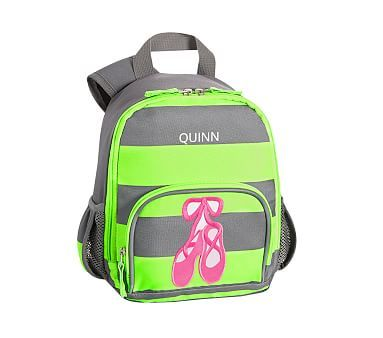 Pre-K Backpack, Fairfax Lime Gray Stripe Ballet Shoes
