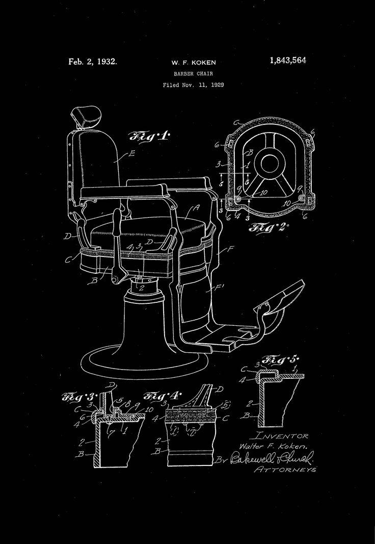 Barber Chair Patent Print Barber Shop Decor Poster  Barber Chair Patent Print Barber Shop Decor, Barber Poster - Black