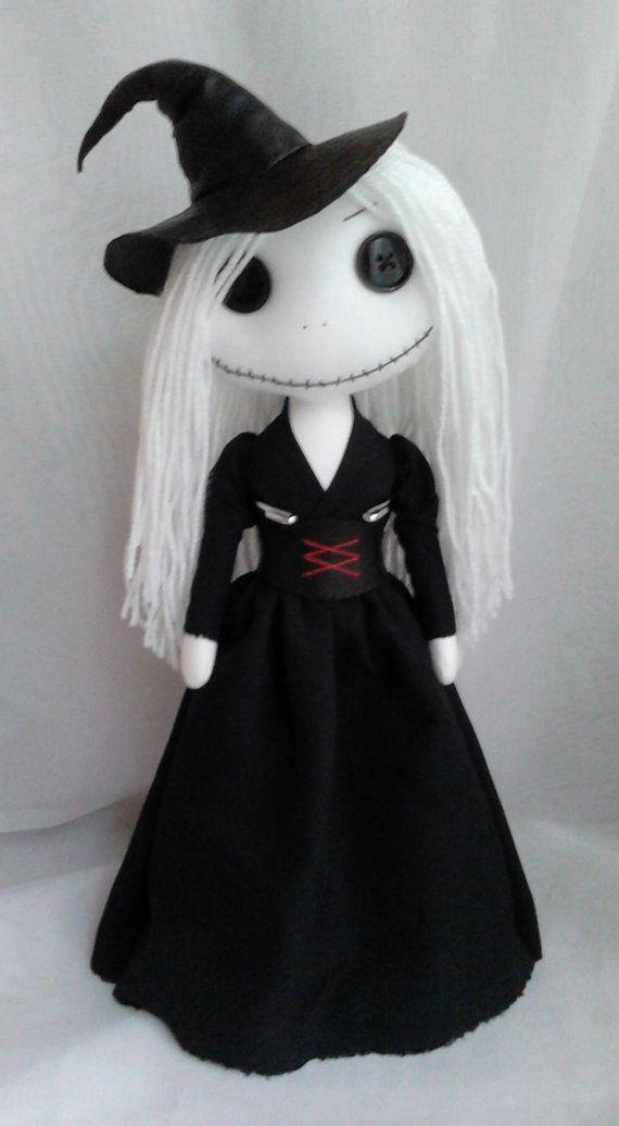 Gothic Witch Rag Doll  Fiona by ChamberOfDolls on Etsy, £35.00