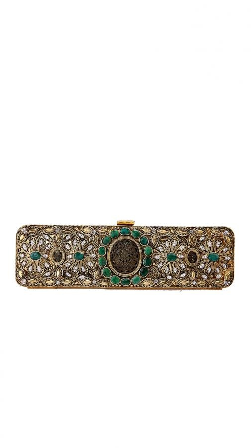 Thewa Worked Metal Clutch | Strandofsilk.com - Indian Designers