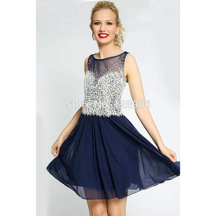 2016 Navy Blue Prom Dresses with Pearls Beaded Sheer Scoop Neckline Short Prom Party Gowns Backless Cocktail Dresses New Arrival