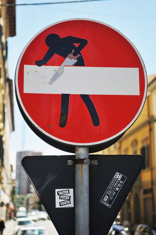 Clet Abraham's street art. Saw a lot of it all around Florence. And the Florentine people let him! love it