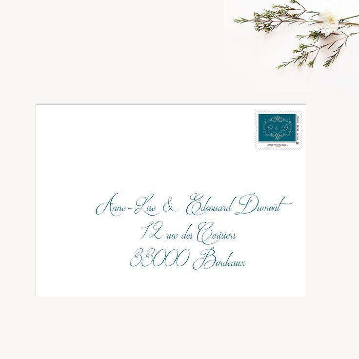 Timbre personnalisé mariage bleu canard par La Papeterie de Paris