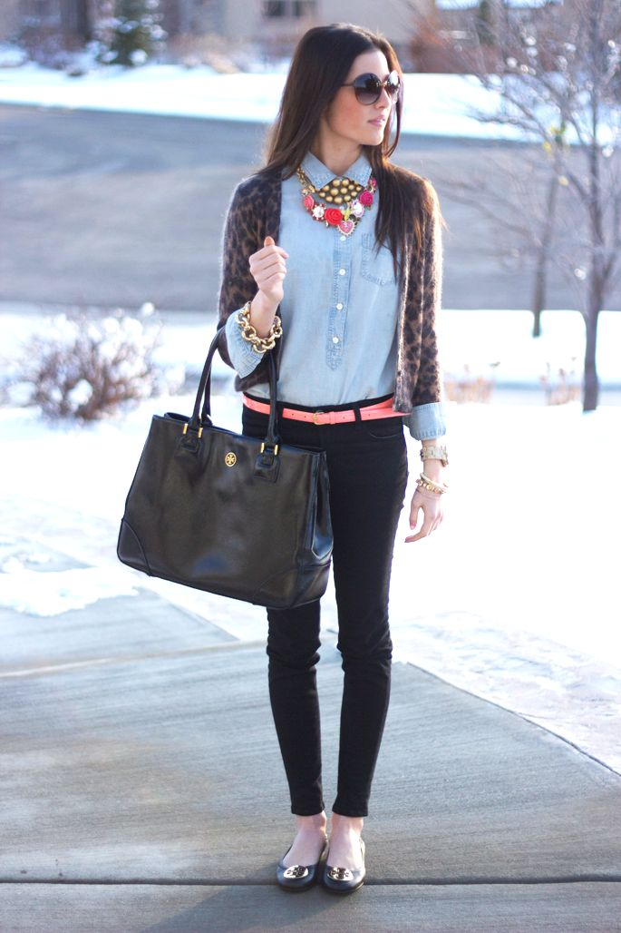 Black, chambray, bright necklace, and a fun cardigan