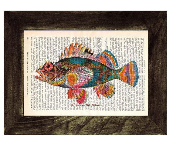 Hawaiian Fish Print on Vintage Book