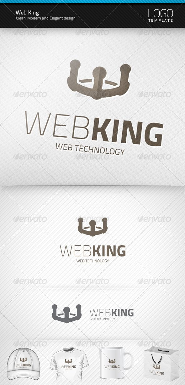 Web King - Logo Design Template Vector #logotype Download it here: http://graphicriver.net/item/web-king-logo/3590854?s_rank=1324?ref=nesto