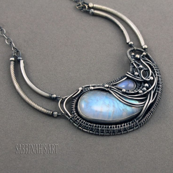 """""""Cradle of Life"""" Rainbow Moonstone and Fine and Sterling Silver Wire Wrapped Necklace by Sabrinah Renee"""