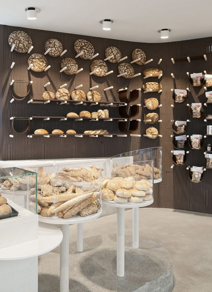 Trendy display wall in a Bakery