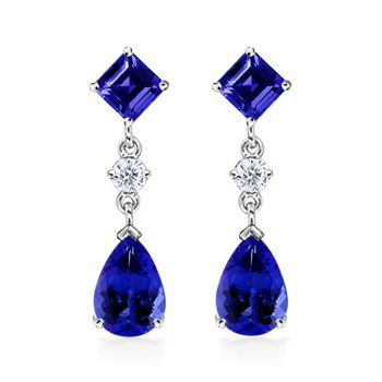 Angara Oval Tanzanite and Diamond Earrings With Metal Curves in Yellow Gold DxX6uoOjv