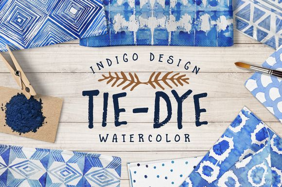 Tie-Dye watercolor patterns pack by Tasiania on @creativemarket