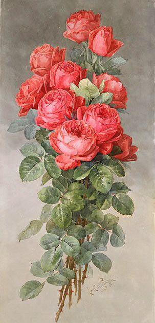 Paul de Longpre - Spray of American Beauty Roses, 1898