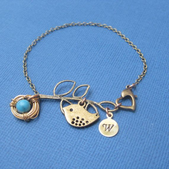 love.  it.: Turquoise Inital, Turquoi Init, Biz Logos, Accessor Bracelets, Bracelets Nests, Birds Turquoise, Necklaces, Jewels