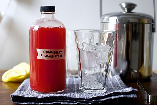 strawberry-rhubarb syrup (add sparkling water)