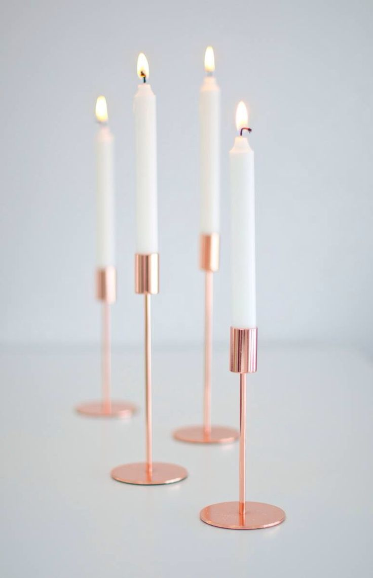 Rose gold candlesticks...great accent for a romantic setting