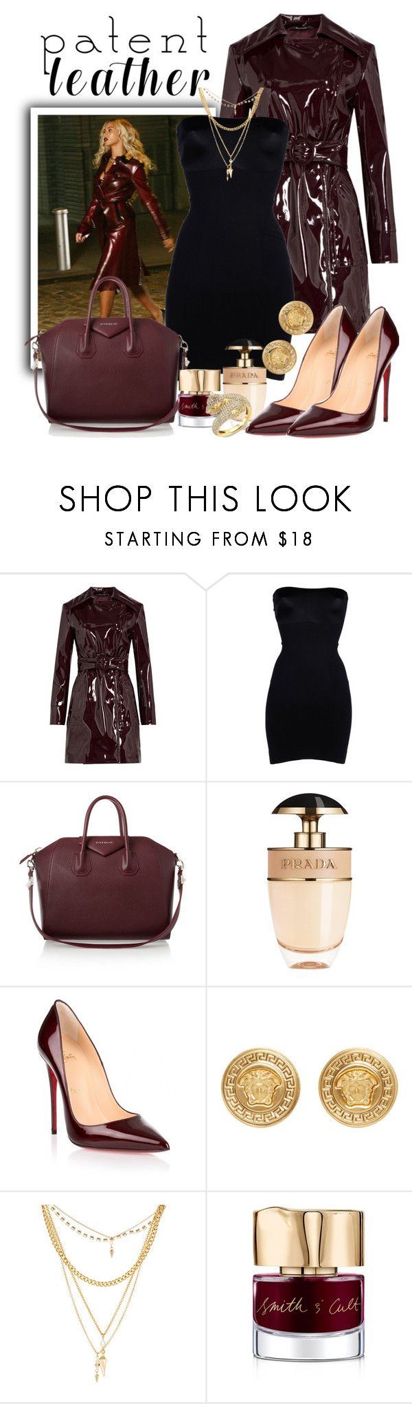 """Maison Margiela Patent Trench Coat"" by isror ❤ liked on Polyvore featuring Burberry, Maison Margiela, SPANX, Givenchy, Prada, Christian Louboutin, Versace, Ettika and Smith & Cult"